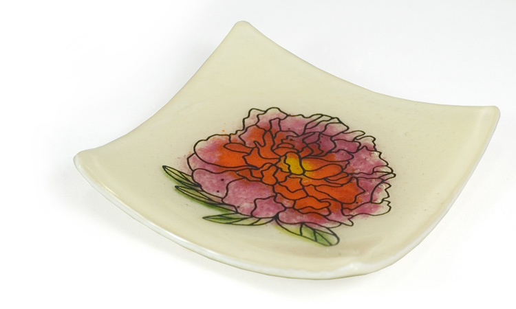 Peony Decal Dish with frit underpainting by Michelle Prosek